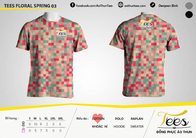 Mẫu áo thun đồng phục họa tiết Floral Spring 03