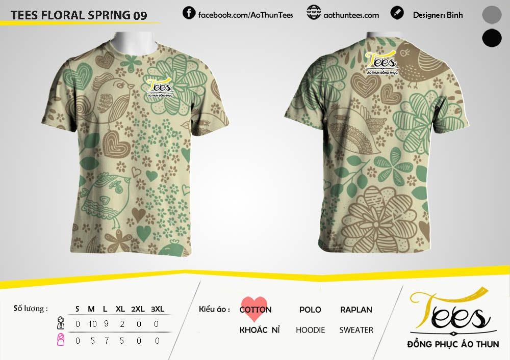 Mẫu áo thun đồng phục họa tiết Floral Spring 09