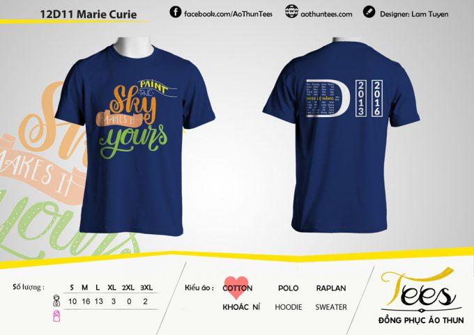 Mẫu áo thun đồng phục lớp 12D11 – THPT Marie Curie