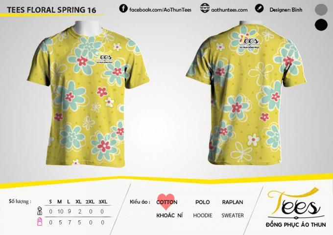 Mẫu áo thun đồng phục họa tiết Floral Spring 16