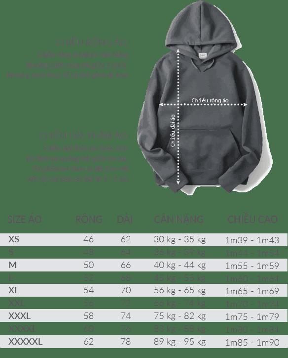 size ao hoodie - Bảng size áo hoodie / sweater
