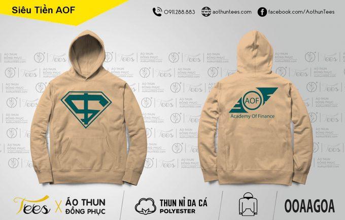 Áo hoodie siêu nhân trường Học viện tài chính AOF